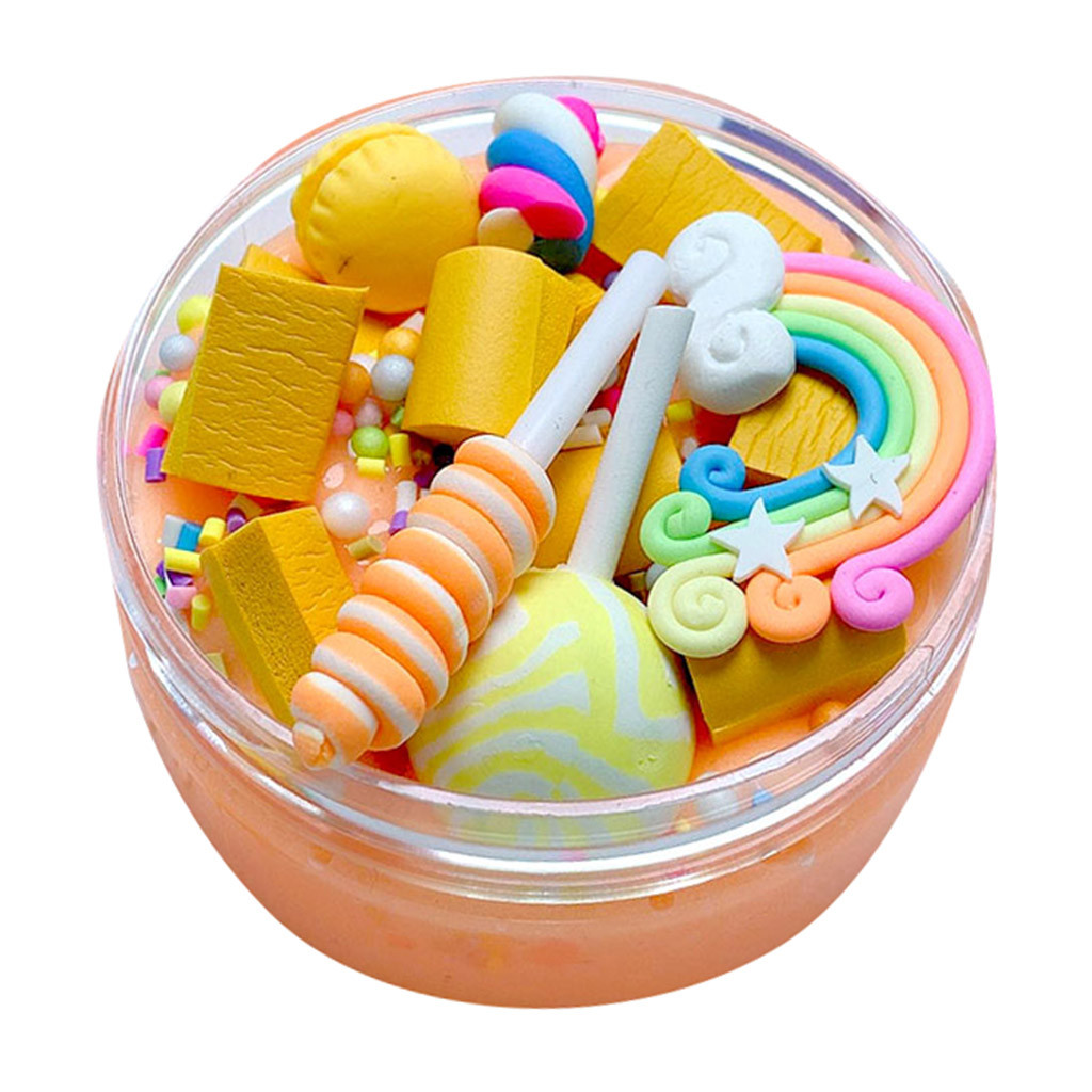 Rainbow Charms Clear Slime Beautiful Color Lollipop Slime Kids Relief Stress Toys Slime Soft Clay For Slime Funny Gifts    7.6