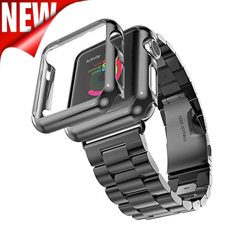 Correa de acero inoxidable de tres eslabones para Apple Watch Band con Apple Watch Funda protectora plateada para Apple Watch Series 3 2 1