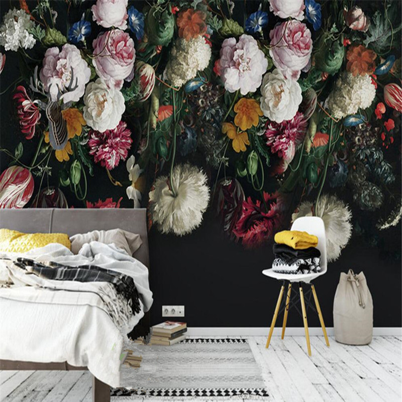 3D Custom Wall Mural Wallpaper European Style Pastoral Retro Roses Peony Floral Hand Painted Background Wall Painting Wallpaper beibehang custom 3d wallpapers hand painted retro nostalgic abstract oil painting flowers landscape european style wallpaper