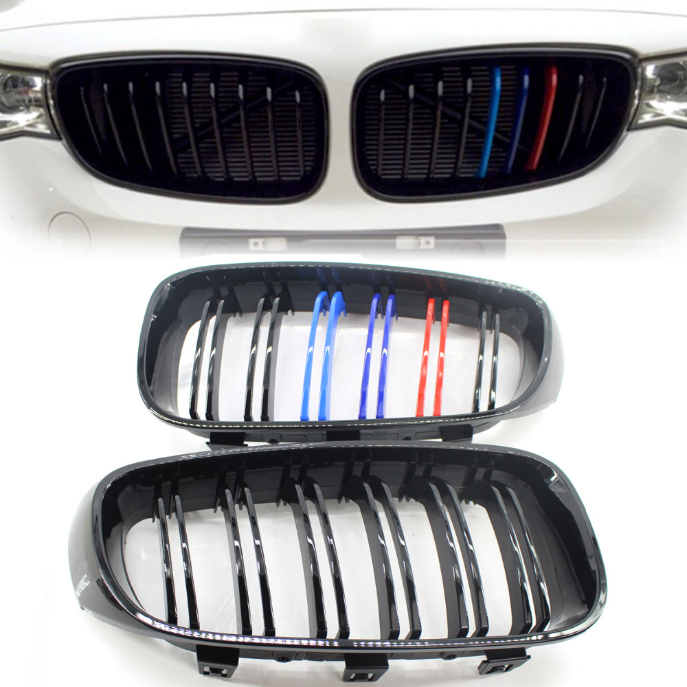 For 2012 2013 2014 2015 2016 2017 2018 BMW 3 Series F34 GT Gloss Black M Color Front Bumper Grill Grille gloss black front dual line grille grill for bmw f20 f21 1 series 118i 2010 2011 2012 2013 2014