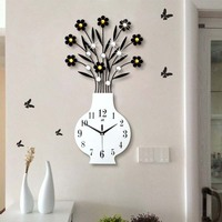Modern minimalist garden vase wall clock living room large European creative personality clock Silent quartz clock Home Decor