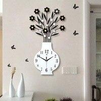 Modern minimalist garden vase wall clock living room large European creative personality clock Silent quartz clock Home Decor