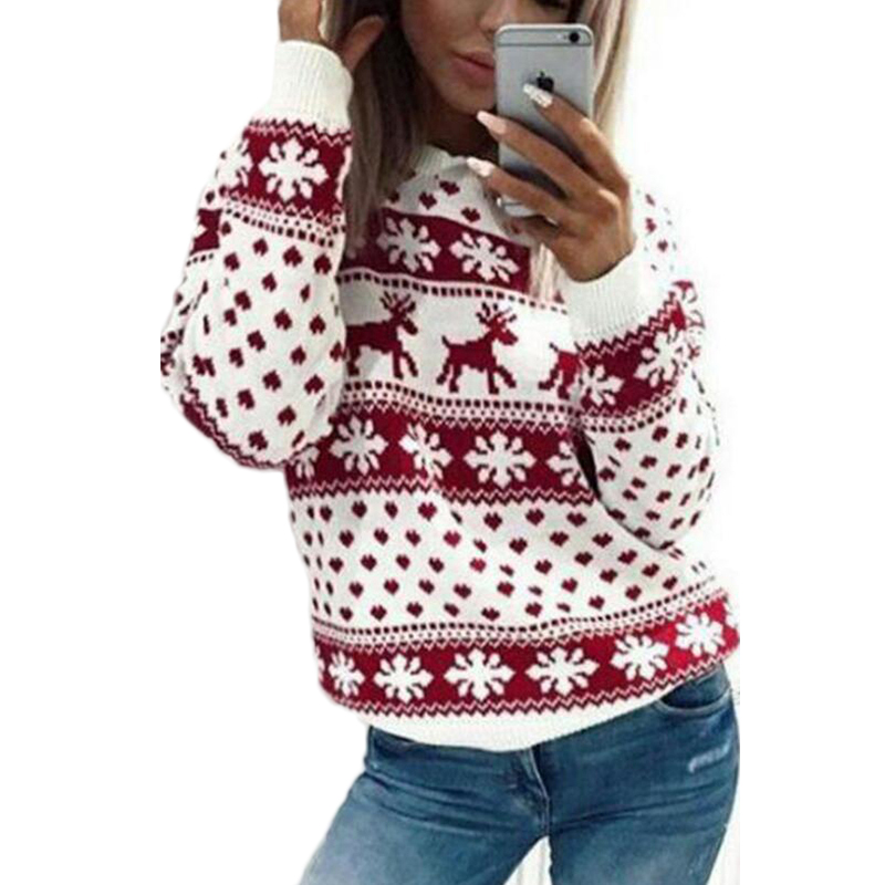 Christmas sweater for women 2018 autumn winter Deer Snow Pattern patchwork ugly sweater knitted jumpers pullovers knitwear red