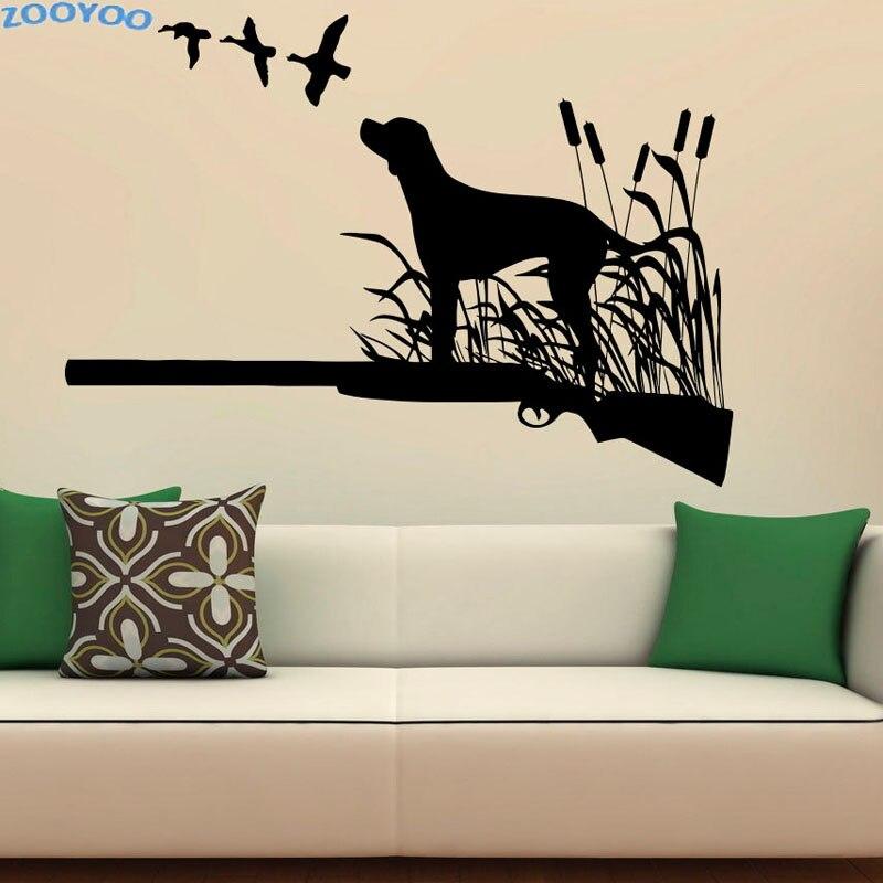 ZOOYOO Uccelli Cani Da Caccia Creativo Adesivi Murali Hunter Vinyl ...