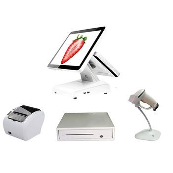whole set pos system dual screen cash register POS machine for restaurant point of sales