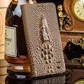 Чехол Для Asus ZenFone Увеличить ZX551ML 5.5 ''Топ Натуральная Кожа Флип роскошные Карты Случае 3D Крокодил Зерна Мешок Мобильного Телефона + Подарок