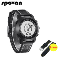 SPOVAN Updated Bravo2S Brand Men's Sports Watches, Genuine Leather Silicone Band, 3D Pedometer, Free Watch Strap