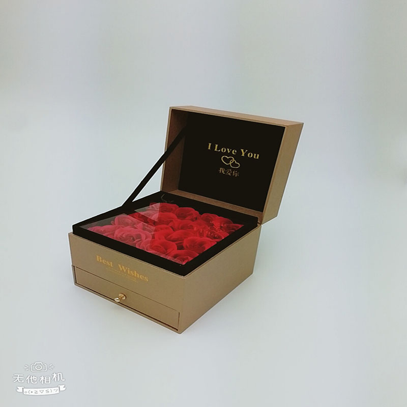 Valentine 39 s Day Square Drawer Creative Jewelry Necklace Box Wooden Double Fleece Everlasting Flower Gift Box forever Flower Box in Artificial amp Dried Flowers from Home amp Garden