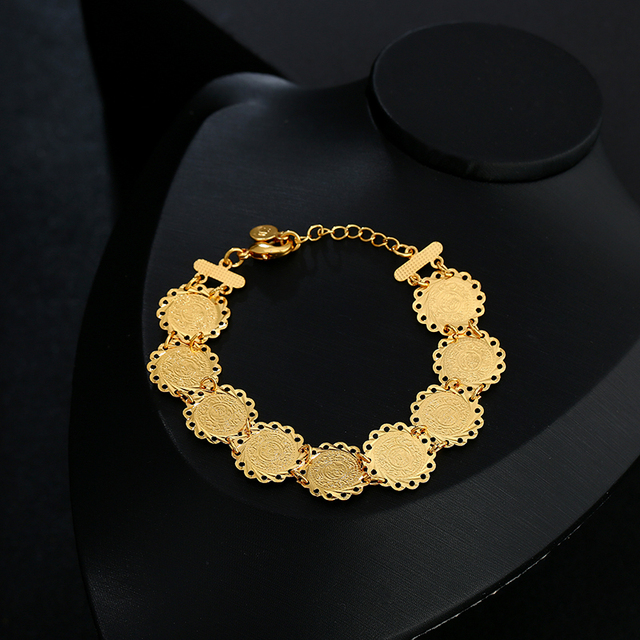New exquisite Bridal wedding Gold Color Muslim Coin Necklace Earrings Ring Bracelet Sets for women Middle East Arab Jewelry gift