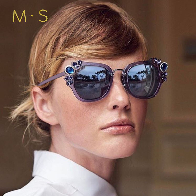 MS 2018 Vintage Sunglasses WomenFashion Designer Eyewear UV400 Female Simi-Rimless Sun Glasses Brand Cat Eye Sun Girl J39