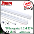 new 22w led tube light 1200mm t8 integrated tube AC85-265V free shipping 25pcs/lot