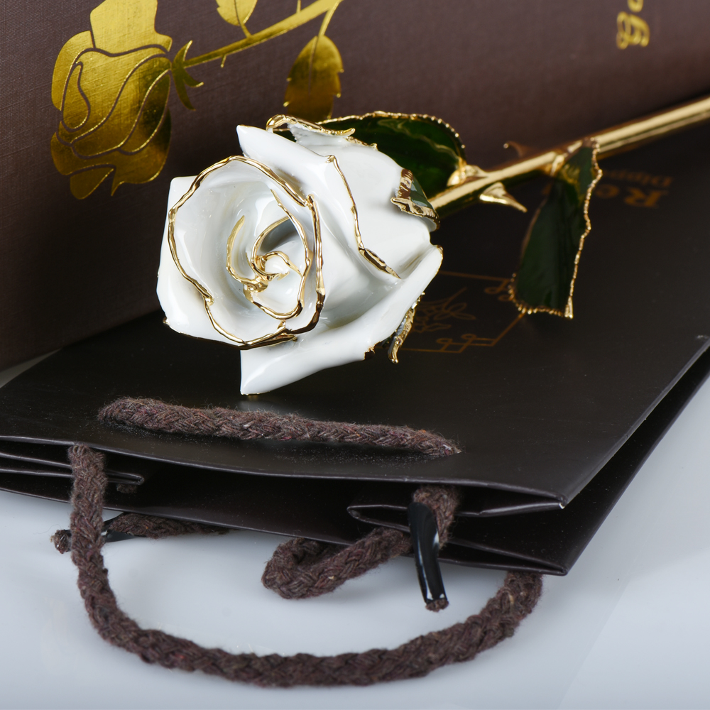 WR Beautiful Flower 24k Gold Plated Rose Flower Creative Valentines Day Gifts Artificial Flower Lovers Flower For Gifts