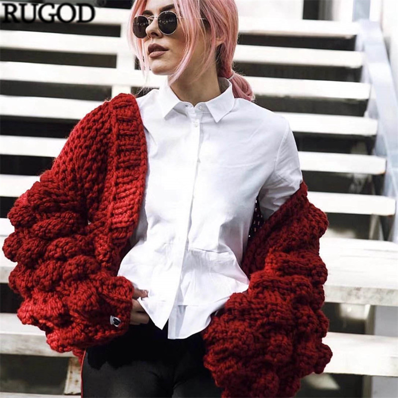 2018 Nouveau Hiver Au Crochet Lanterne Manches Point Ouvert Cardigans Femme Mode Multi Couleur Tricoté Pull Femme Lâche Manteaux