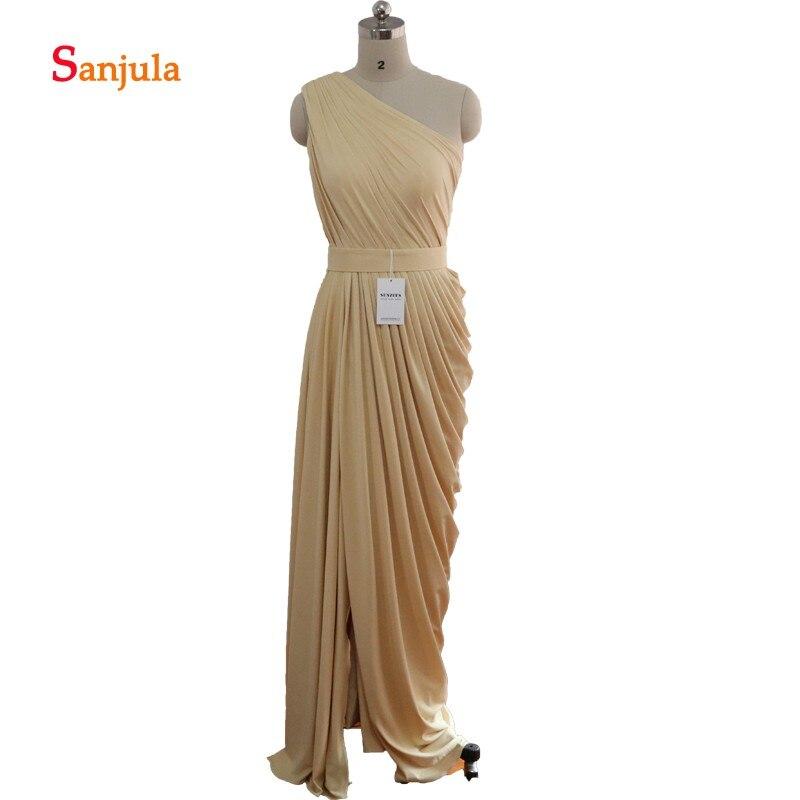 One Shoulder Champagne   Bridesmaid     Dresses   Long Straight Pleats Leg Slit Wedding Guest   Dresses   vestidos largos para bodas D30