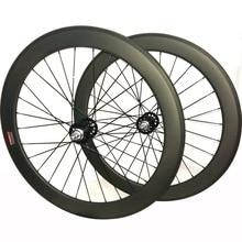 700c פחמן גלגלי מסלול הילוך קבוע פחמן זוג גלגלי 60mm נימוק מכריע יחיד מהירות אופני גלגלים צינורי fixie פחמן זוג גלגלים