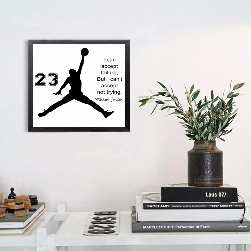 HOT Michael Jordan Poster Inspiring Quotes Wall Art Canvas Painting Wall Picture Canvas Art Cuadros Kids Wall Decor, No Frame-in Painting & ...