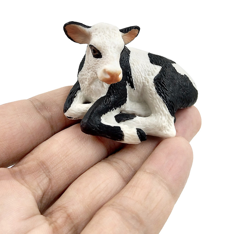 Farm poultry Kawaii Simulation mini milk Cow Cattle Bull Calf plastic Ox animal model figurine toy figures home Decor decoration in Figurines Miniatures from Home Garden