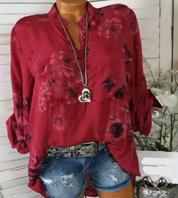 Summer Women Tops Blouses 2019 Autumn Elegant Long Sleeve Print V-Neck Chiffon Blouse Blusa Casual Loose Shirts Plus Size 5XL 4