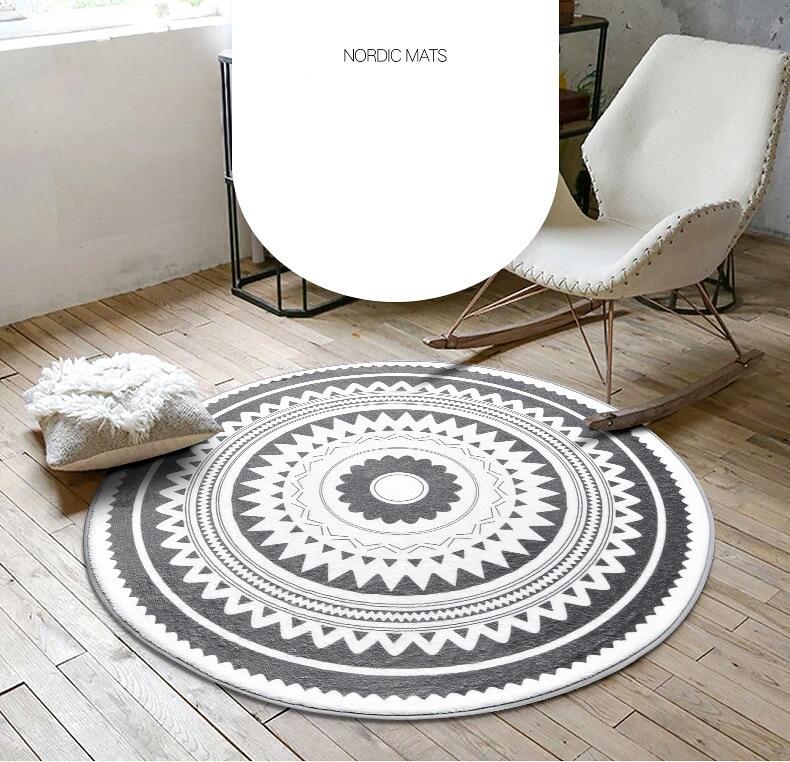 Nordic круглый ковер Кофе стол номер Спальня Гостиная коврик детский сад коврик компьютерное кресло вращающееся кресло подушка