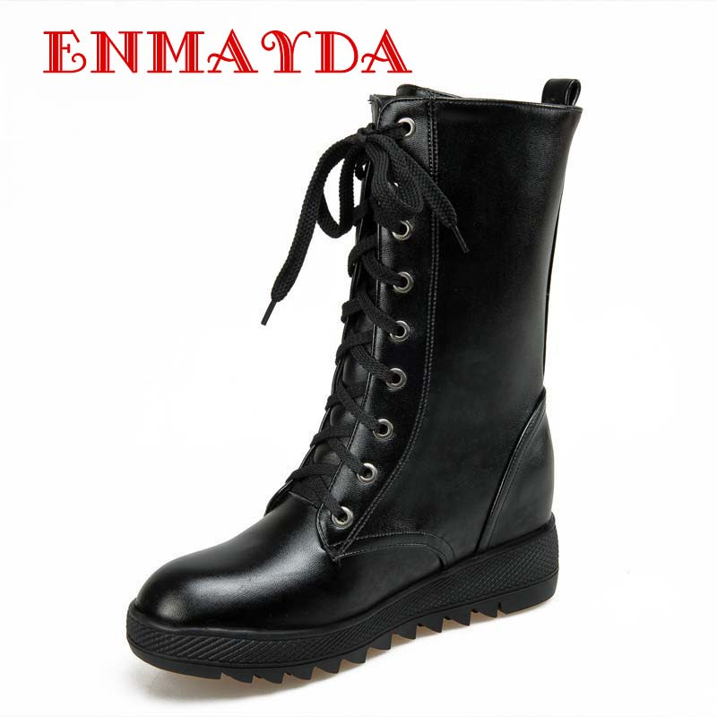 Perfect Women Ankle Boots 2015 Winter Fur Genuine Leather Lace Up Land Shoes Punk White Black Colors Men ...