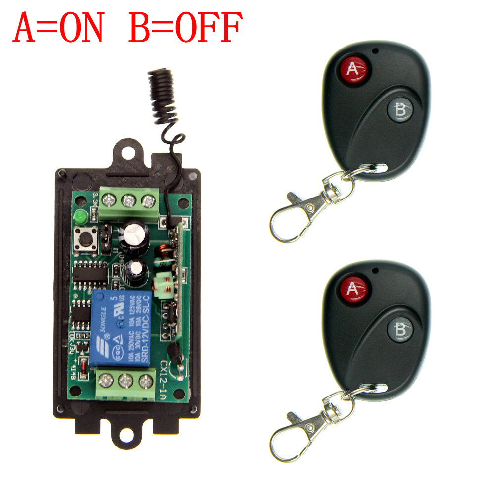 DC 9V 12V 24V 1 CH 1CH RF Wireless Remote Control Switch System,315/433 MHZ 2X Transmitter + Receiver,Latched (A=ON B=OFF) 3000m ac 220v 110v 1 ch 1ch rf wireless remote control switch system 315 433 92 3x transmitter receiver latched a on b off