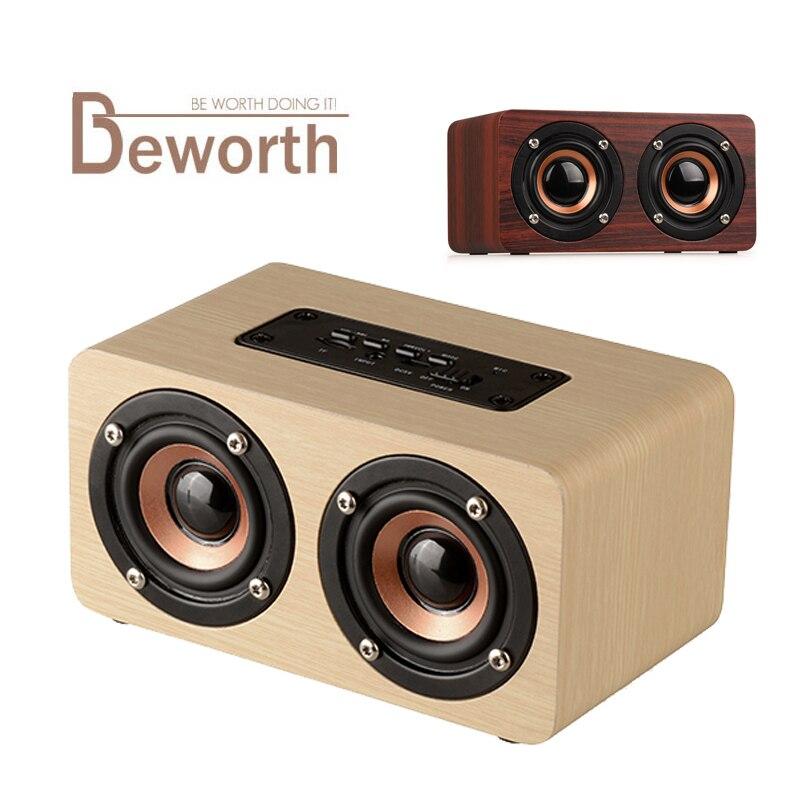 Деревянный Беспроводной <font><b>Bluetooth</b></font> Динамик Портативный аудио HIFI шок басовый звук домашнего кинотеатра ресивер стерео музыка бумбокс для IPhone X 8