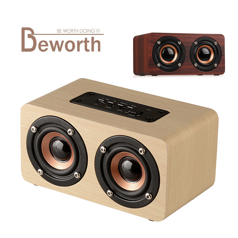Wooden Wireless Bluetooth Speaker Portable Audio HiFi Shock Bass Home Theatre Sound Receiver Stereo Music Boombox for iPhone X 8