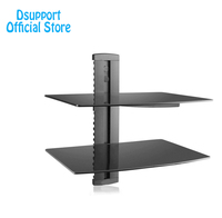 Dsupport Black 2 Floating Shelf With Strengthened Tempered Glass For DVD Players Cable Boxes Games Consoles