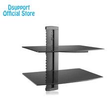 Dsupportสีดำ2ชั้นลอยที่มีเข้มแข็งกระจกนิรภัยสำหรับเครื่องเล่นดีวีดี/เคเบิ้ลกล่อง/เกมคอนโซล/ทีวีอุปกรณ์เสริม