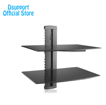 Dsupport Black 2 Floating Shelf with Strengthened Tempered Glass for DVD Players/Cable Boxes/Games Consoles/TV Accessories