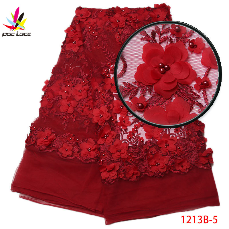 2018 Red african lace fabric with beads embroidery 3D lace with beads lace applique for dress