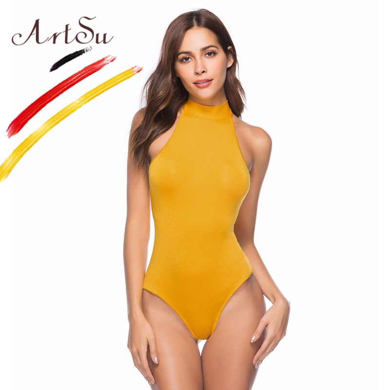 ArtSu Bodysuits Sexy Women Summer Beach Bodysuit 10 Color Backless Halter Bandage Rompers Jumpsuit 2018 Female Lace Up Overalls