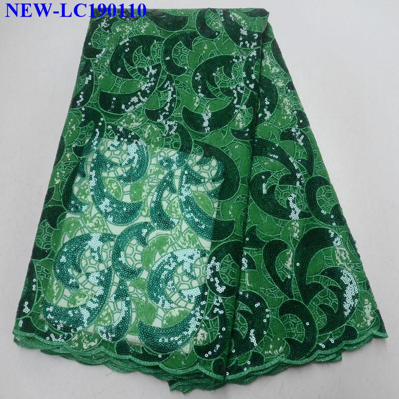Blue Embroidery Organza Lace Fabric High Quality African french tulle lace fabrics For Party dress With sequins 5 yards JS0  00-in Lace from Home & Garden    1