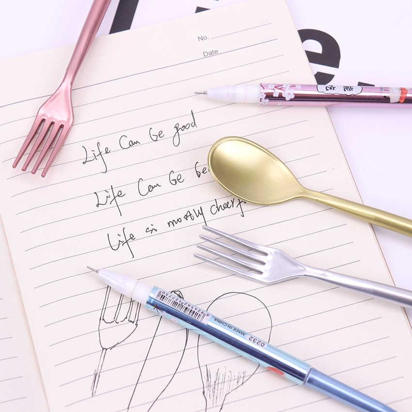 4 шт. новая милая гелевая ручка для творчества столовые приборы Стиль студентов нейтральная ручка офисные ручки для подписи канцелярские принадлежности