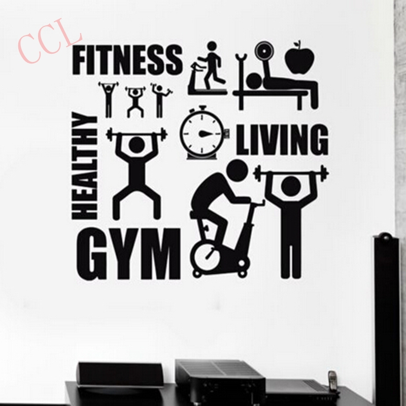 Exercise Stickers Gym Wall Decal Sticker Sport Motivation font b Fitness b font Gym Wall Mural