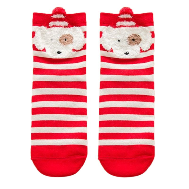 Women Girls Cute Cotton Socks Cartoon 3D Animal Elk Fox Printing Christmas Long Crew Socks Warm Gifts