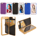 i5 5S Make UP Mirror Card Slot Wallet Case For Apple iPhone 6 6S Plus 6plus Luxury Dual Layer Hard Back Cover Flip Leather Cover