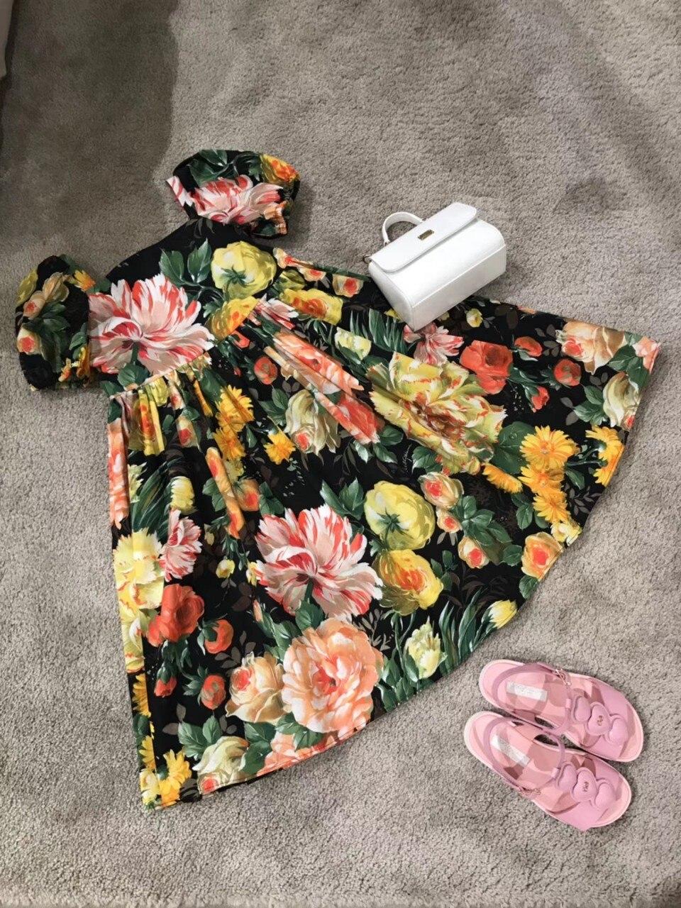 Robe de soirée princesse à la main gland été bébé robes floral coton boutique enfants robe