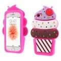 Capa para iphone 5s 5 se shell cereja 3d ice cream silicone case celular acessório para iphone s e telefone celular bag-quente venda
