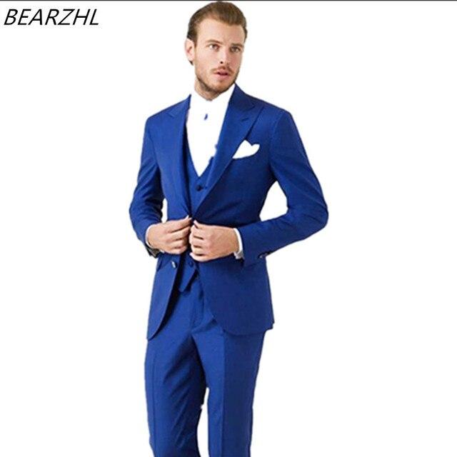 cc2e914bb3a21 Los hombres de esmoquin del novio del azul real traje cena por encargo trajes  de boda