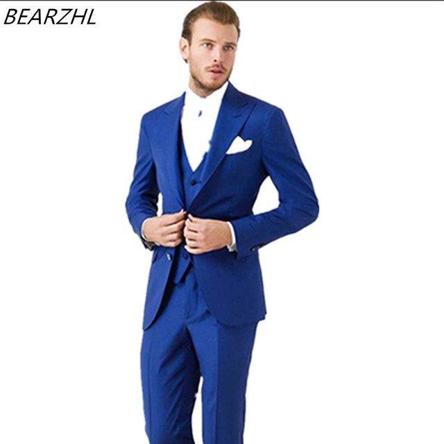 men tuxedo royal blue groom suit dinner custom made suits wedding ...