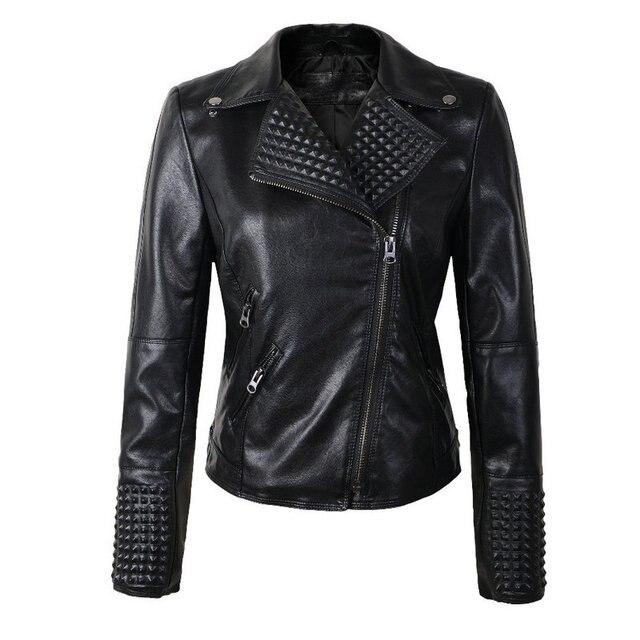2016 New Women Leather Jackets Fashion Female Rivet Winter Motorcycle Brand Coat Outwear Drop Shipping