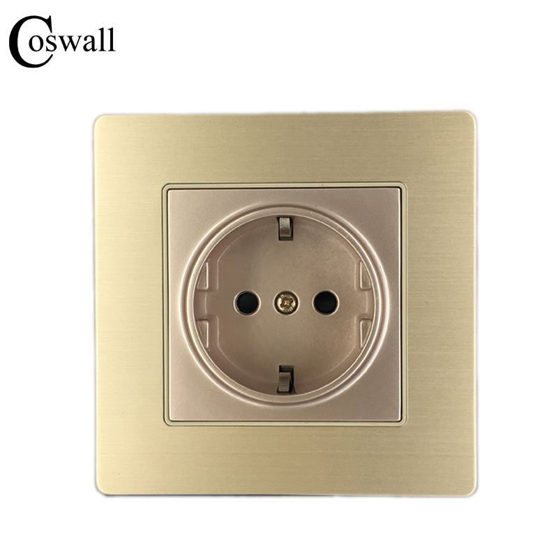 Factory Price Wall Power Socket, 16A EU Standard Electrical Outlet Grounded, AC 110~250V 250v 16a eu de standard distribution box guide rail socket modular socket power outlet 2p e free shipping frcap7