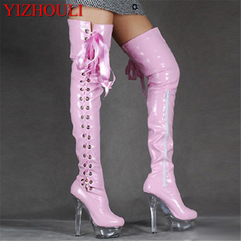 15cm high-heeled shoes crystal cutout boots lacing over-the-knee platform boots Thigh High Boots for Women 6 inch ladies boots