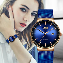 Montre Femme LIGE New Luxury Ladies Watch Fashion Simple Watches Womens Mesh Bel