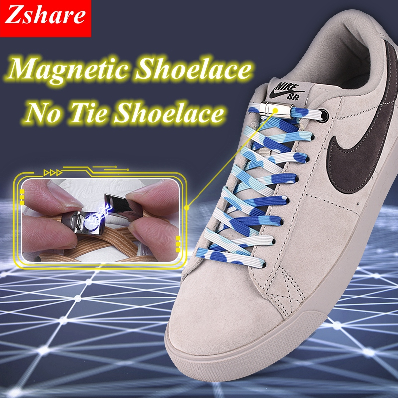 1Pair Magnetic Shoelaces Flats Elastic No Tie Shoelaces Locking Sneakers Shoelace Creative Quick Kids Adult Unisex Shoe Laces