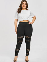 Push Up Plus Size Sheer Lace Leggings for Women