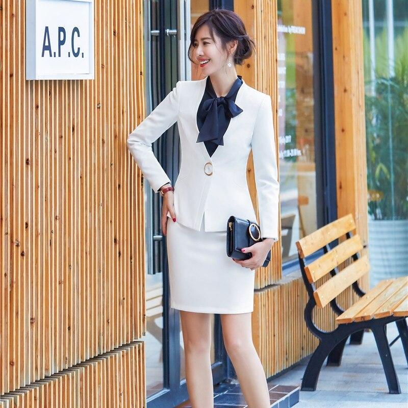 35cb97b93c Ensembles Uniforme Bureau Femmes Mode Jupe Blazer Et Veste Costumes  D'affaires Style Haute Noir blanc Ol ...