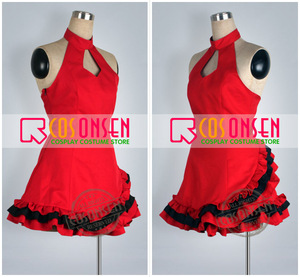 Image 2 - COSPLAYONSEN Vocaloid projet DIVA Meiko Lolita robe Cosplay Costume robe rouge sur mesure