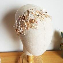 Luxury Freshwater Pearls Wedding Tiara Crystal And Rhinestone Side Accent Bridal Headband Handmade Prom Party Hair Jewelry Bride